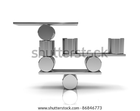 Balancing steel cylinders on the metal plate - stock photo