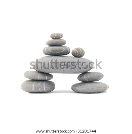 balancing stones isolated on a white background