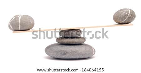 balancing stones on white - stock photo