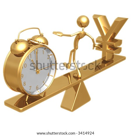 Balancing Time And Yen - stock photo