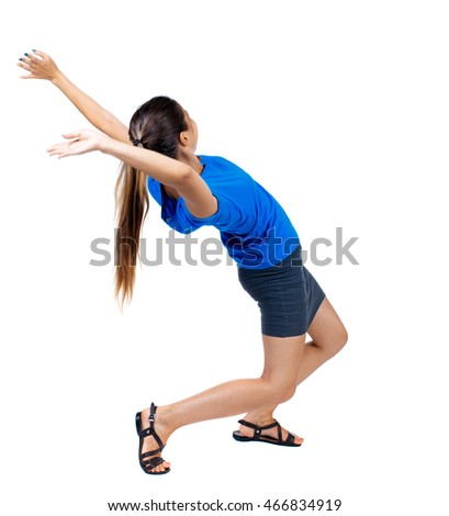 Balancing young woman.  or dodge falling woman. Rear view people collection.  backside view of person.  Isolated over white background. girl in a short skirt and a blue T-shirt falls on his back.