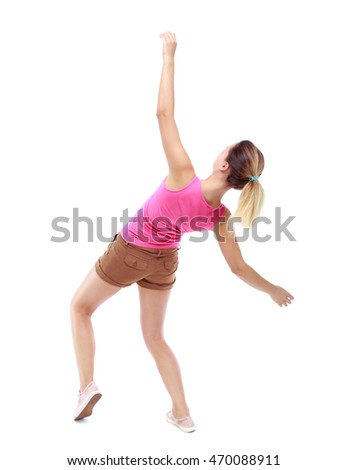Balancing young woman.  or dodge falling woman. Rear view people collection.  backside view of person.  Isolated over white background. Sport blond in brown shorts falls on his back.