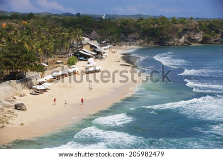 Balangan Beach in Bali, cliff view - stock photo
