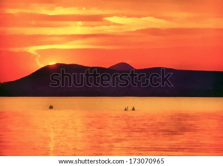 Balaton lake painting - stock photo