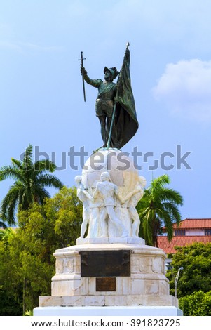 Balboa Monument at Panama City, Panama. Pacific Ocean Discoverer. - stock photo