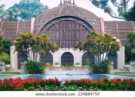 Balboa Park Botanical Building and Pond, Balboa Park San Diego California - stock photo