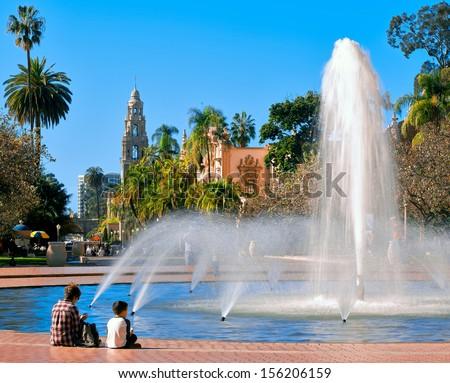 Balboa Park's Water Fountain Located in Sunny San Diego, California  - stock photo
