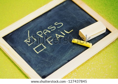 balckboard with test result writing - stock photo