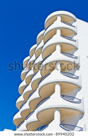 Balconies and facade of building of  the city of Cadiz - stock photo