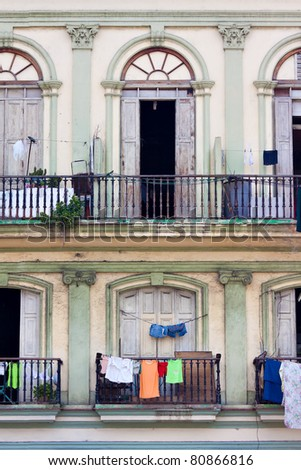 Balconies in an old building in Havana