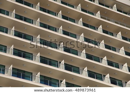Balconies of a modern building. Facade of building