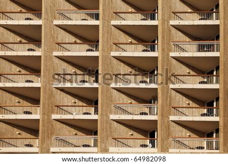 Balconies of modern hotel - stock photo