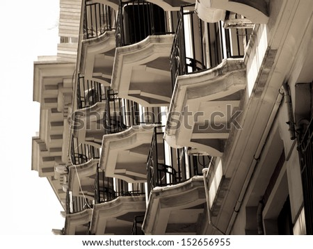 Balconies of the residential building in Shanghai, China.