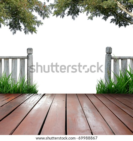 balcony and white background - stock photo