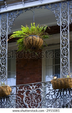 Balcony detail on French Quarter house, New Orleans - stock photo
