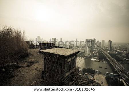 Balcony dramatic View of an old building look to modern building - stock photo