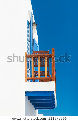 Balcony from a house on a Greek Cycladic island - stock photo