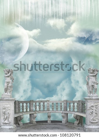 Balcony in the sky with angel statues - stock photo