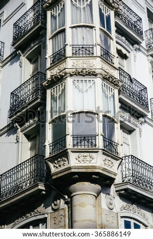 Balcony of a building in Vitoria, Basque Country, Spain - stock photo