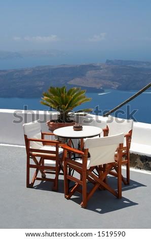 Balcony of a hotel at Santorini Island, Greece - stock photo