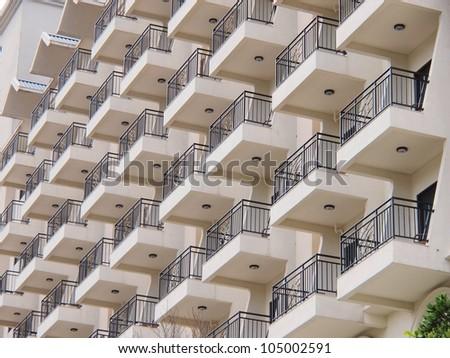 balcony of hotel - stock photo