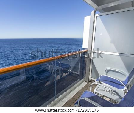 Balcony of luxury cruise ship - stock photo