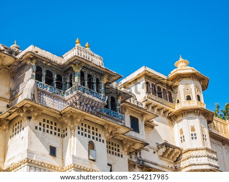 Balcony of Udaipur City Palace in Rajasthan, India - stock photo