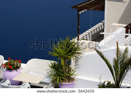 Balcony on Santorini island, Greece - stock photo