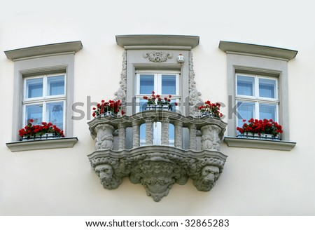 Balcony on the old house in Lvov - stock photo