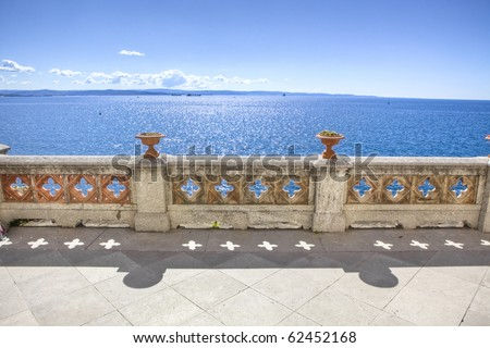 balcony on the sea in miramare castle trieste