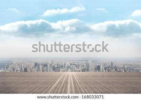 Balcony overlooking city - stock photo
