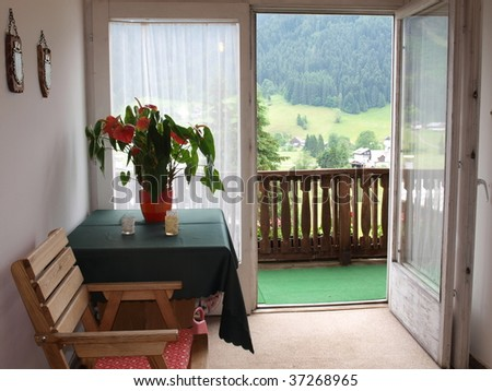 Balcony which can see the mountain view. - stock photo