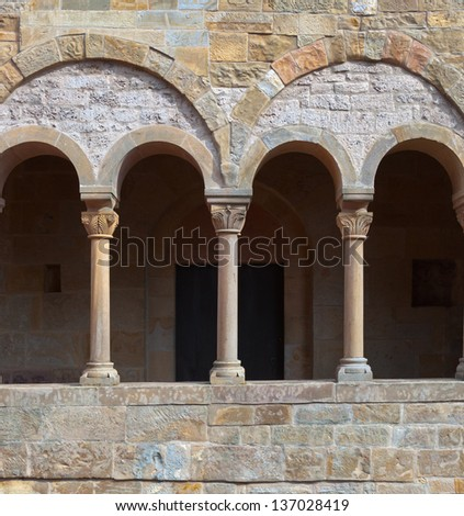Balcony with arches and columns. - stock photo