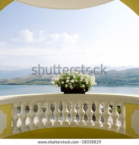 Balcony with flower - stock photo