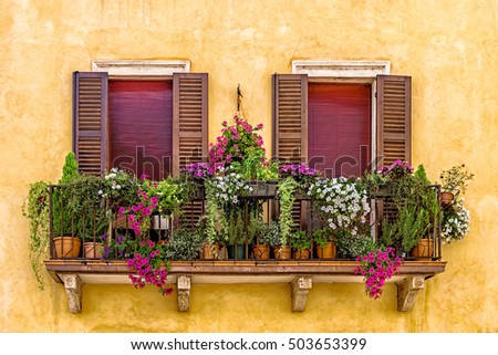 Balcony with flowers in Verona