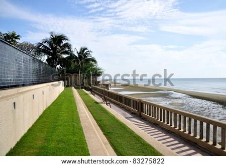 balcony with sea view - stock photo