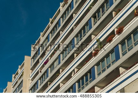balconys on apartment building in low angle view