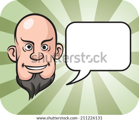 bald and bearded man face with speech bubble - stock photo