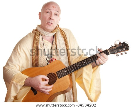 Bald Caucasian plays a guitar over white background - stock photo