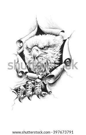 Bald eagle breaks through wall paper. Pencil illustration.