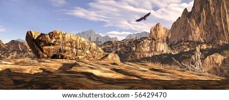 Bald eagle soaring above a Southwest landscape. - stock photo