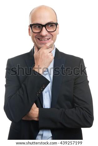 bald fashionable man looking sideways. Isolated on white - stock photo