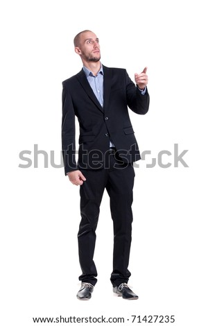 bald frightened surprise unshaven man in a suit - stock photo