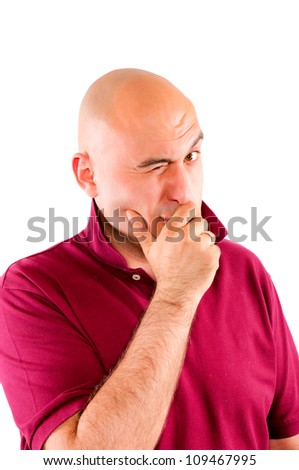 Bald guy winking - stock photo