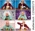 Bald guy with the beer collage - stock photo