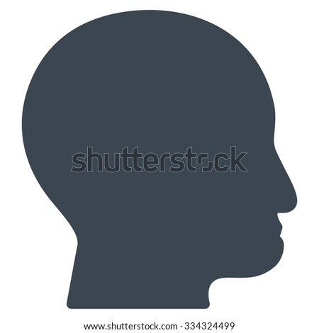 Bald Head glyph icon. Style is flat symbol, smooth blue color, rounded angles, white background.