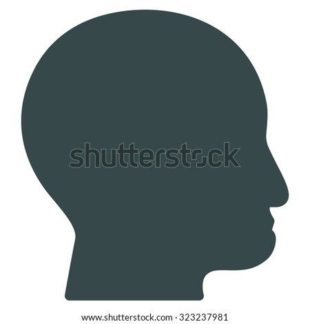 Bald Head glyph icon. Style is flat symbol, soft blue color, rounded angles, white background.