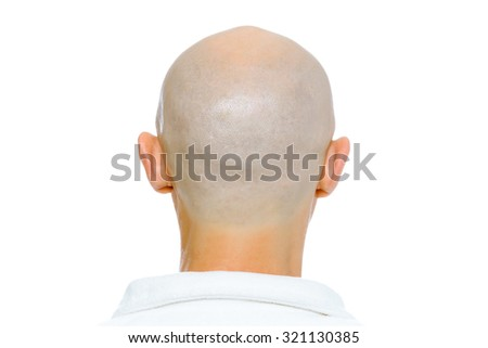 Bald man. Back of the head. Studio. isolated