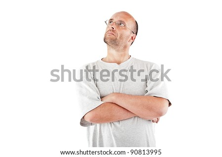 Bald man daydreaming - stock photo