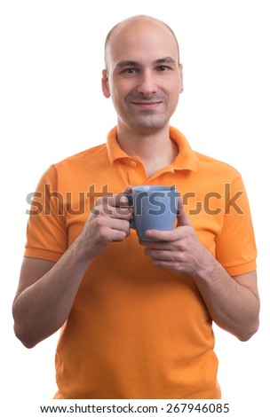bald man holding a cup of tea isolated over white